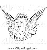 Illustration Vector of a Black and White Angel by Prawny Vintage