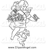 Illustration Vector of a Black and White Angel Cherub with Flowers by Prawny Vintage