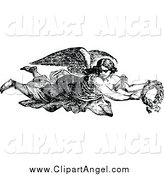 Illustration Vector of a Black and White Angel Flying with a Wreath by Prawny Vintage