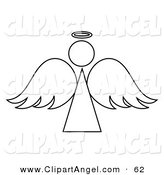 Illustration Vector of a Black and White Angel Outline Design on White by Pams Clipart