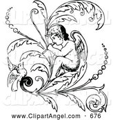 Illustration Vector of a Black and White Angel Playing a Flute on a Flourish with a Bird by Prawny Vintage