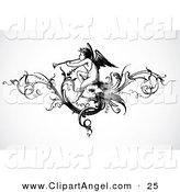 Illustration Vector of a Black and White Angel Playing a Trumpet Header on Gray by BestVector