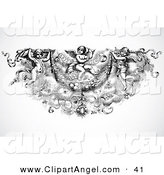 Illustration Vector of a Black and White Angel Trio Header Design by BestVector