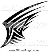 Illustration Vector of a Black and White Angel Wing by Seamartini Graphics