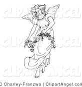 Illustration Vector of a Black and White Beautiful Winged Angel in a Gown, Carrying a Floral Garland by C Charley-Franzwa