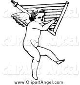 Illustration Vector of a Black and White Cherub Carrying a Harp by Prawny Vintage