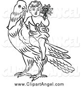 Illustration Vector of a Black and White Cherub with Flowers on a Dove by Prawny Vintage