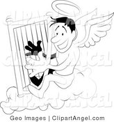 Illustration Vector of a Black and White Coloring Page of an Angel with a Halo Playing a Harp by AtStockIllustration