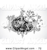 Illustration Vector of a Black and White Cupid on a Floral Design Element on White by BestVector