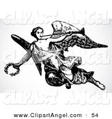 Illustration Vector of a Black and White Female Angel Carrying a Trumpet and Laurel by BestVector