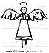 Illustration Vector of a Black and White Flying Stick Angel in Prayer, with a Carved Texture by Xunantunich