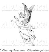 Illustration Vector of a Black and White Graceful Angel Woman with Large Wings, Floating Through the Air with Her Arms out by C Charley-Franzwa