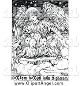Illustration Vector of a Black and White Guardian Angel with Children and Glory to God Text by Prawny Vintage