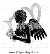 Illustration Vector of a Black and White Horoscope Zodiac Astrology Virgo Angel with Flowers and Gray Symbol by AtStockIllustration