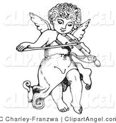 Illustration Vector of a Black and White Innocent Cherub with Curly Hair, Flying and Playing a Violin by C Charley-Franzwa