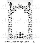 Illustration Vector of a Black and White Ivy and Angel Frame Design by BestVector