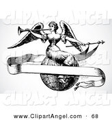 Illustration Vector of a Black and White Old Fashioned Angel Sitting on a Globe with a Blank Banner by BestVector
