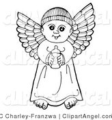 Illustration Vector of a Black and White Pen and Ink Drawing of a Happy Winged Baby Boy Angel Holding a Bottle by C Charley-Franzwa