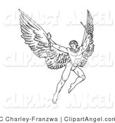 Illustration Vector of a Black and White Pen and Ink Drawing of a Male Warrior Angel with Large Wings, Flying with a Torch and Sword by C Charley-Franzwa