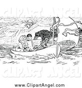 Illustration Vector of a Black and White Spirit over Boys in a Boat by Prawny Vintage