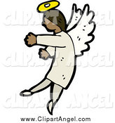 Illustration Vector of a Black Angel Gesturing to the Left by Lineartestpilot