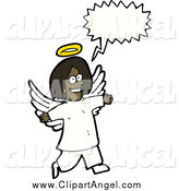 Illustration Vector of a Black Angel with a Conversation Bubble by Lineartestpilot