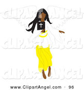 Illustration Vector of a Black Female Angel Flying with a Bible in Hand by Rosie Piter