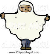 Illustration Vector of a Black Girl Wearing a Ghost Sheet Costume by Lineartestpilot