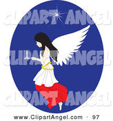 Illustration Vector of a Black Haired Female Angel Flying Inside a Blue Oval with a Candle and Star by Rosie Piter