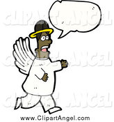 Illustration Vector of a Black Male Angel Speaking by Lineartestpilot