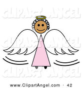 Illustration Vector of a Black Stick Figure Angel Girl with a Halo and Wings by Pams Clipart