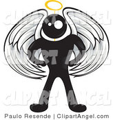 Illustration Vector of a Blackman Angel Character with White Wings and a Yellow Halo by Paulo Resende