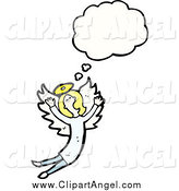Illustration Vector of a Blond Angel Flying and Talking by Lineartestpilot