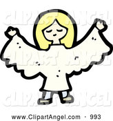 Illustration Vector of a Blond Angel Girl by Lineartestpilot