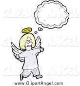 Illustration Vector of a Blond Angel with a Conversation Bubble by Lineartestpilot