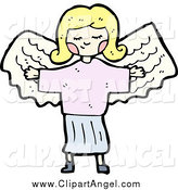 Illustration Vector of a Blond Girl Angel by Lineartestpilot