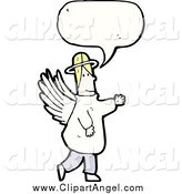 Illustration Vector of a Blond Male Angel with a Conversation Bubble by Lineartestpilot