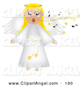 Illustration Vector of a Blond Singing Angel in a White Robe on White by Pams Clipart