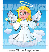 Illustration Vector of a Blond White Angel Girl with a Wand by Visekart