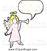 Illustration Vector of a Blond White Female Angel Speaking by Lineartestpilot