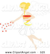 Illustration Vector of a Blond White Female Angel Spreading Hearts from a Bowl by Rosie Piter