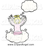 Illustration Vector of a Blond White Female Angel Thinking by Lineartestpilot