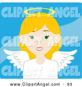 Illustration Vector of a Blond White Female Avatar Angel over Blue by Rosie Piter