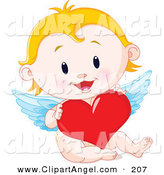 Illustration Vector of a Blonde Baby Cupid Holding a Big Red Heart by Pushkin