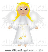 Illustration Vector of a Blonde Christmas Angel in a White Robe, Flying, with a Halo by Pams Clipart