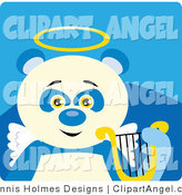 September 2nd, 2012: Illustration Vector of a Blue and White Angel Panda Bear with a Halo, Wings and Lyre on Blue by Dennis Holmes Designs