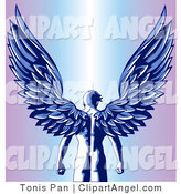 Illustration Vector of a Blue Nude Male Guardian Angel As Seen from Behind, Standing with His Large Feathered Wings Open Above Him by Tonis Pan