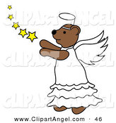 Illustration Vector of a Brown Angel Bear with Stars Facing to the Left by Pams Clipart