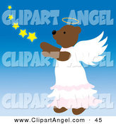 Illustration Vector of a Brown Angel Teddy Bear in the Sky with Stars on Blue by Pams Clipart