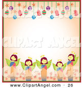 Illustration Vector of a Brown Border of Christmas Angels and Christmas Bulbs with Copyspace by Cherie Reve